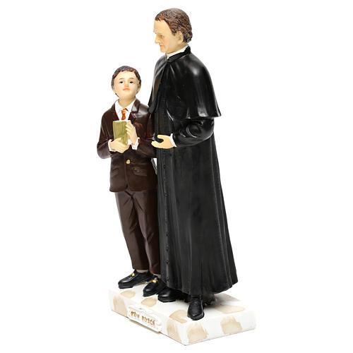 Statue en résine Don Bosco et Don Savio h 20 cm 3