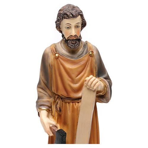Saint Joseph menuisier 23 cm résine colorée 2