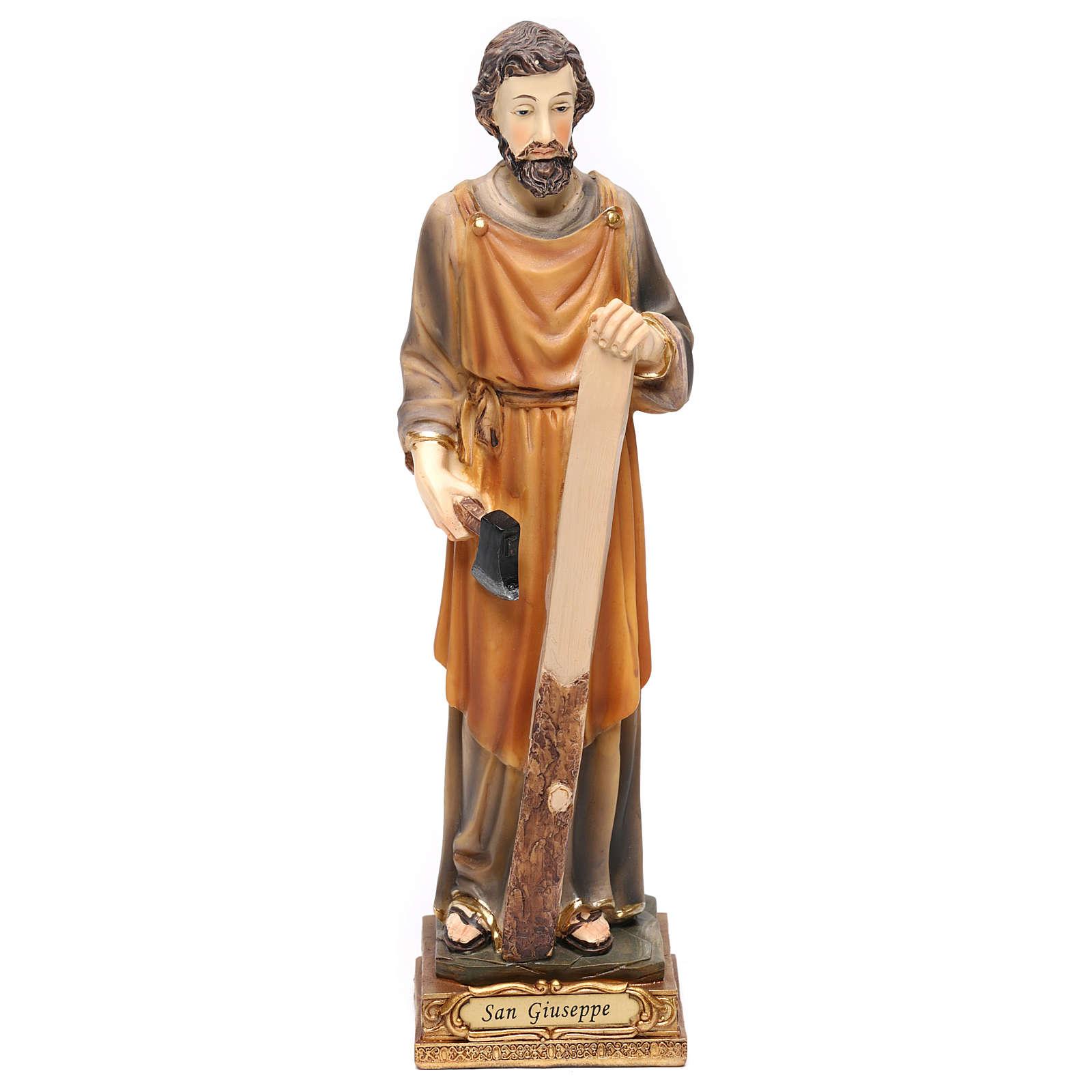 San Giuseppe falegname 23 cm resina colorata 4