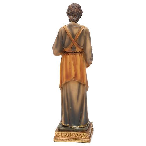 San Giuseppe falegname 23 cm resina colorata 5