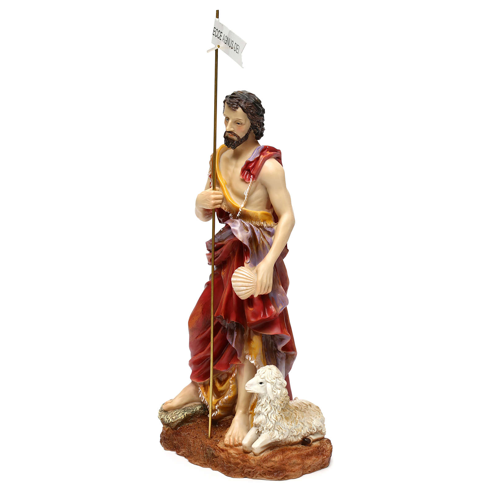 St. John the Baptist statue in painted resin 37 cm 4