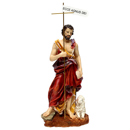 St. John the Baptist statue in painted resin 37 cm 1