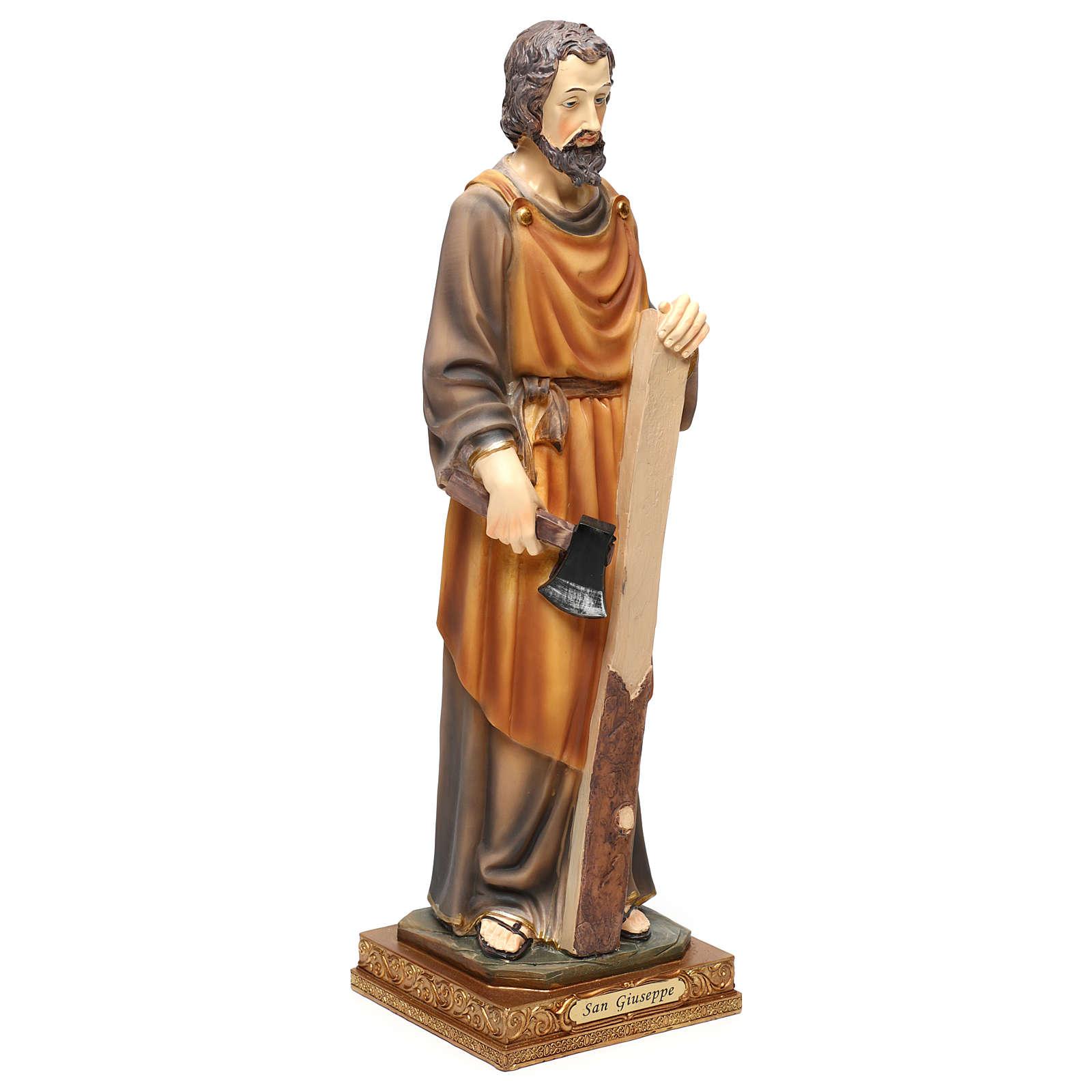 San Giuseppe falegname 43 cm resina colorata 4