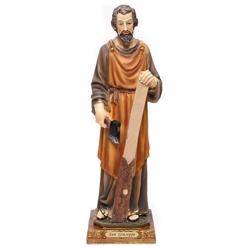 San Giuseppe falegname 43 cm resina colorata 1