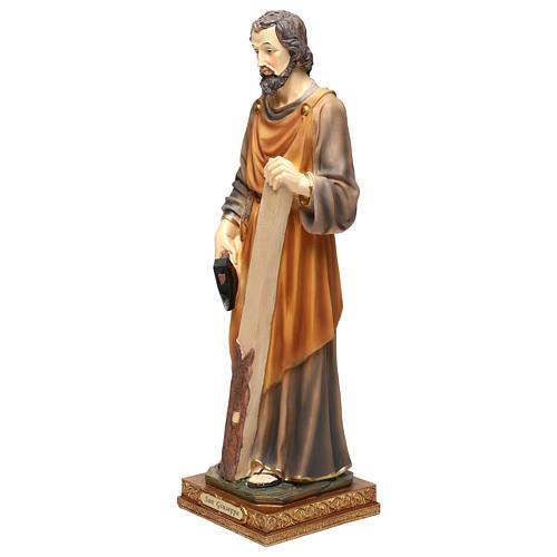 San Giuseppe falegname 43 cm resina colorata 3