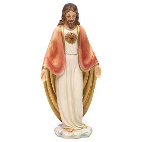 Sacred Heart of Jesus statue in painted resin 20 cm s1