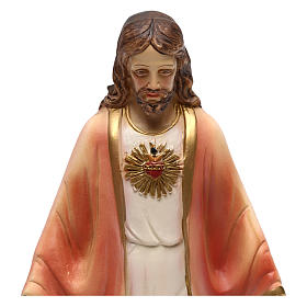 Sacred Heart of Jesus statue in painted resin 20 cm s2