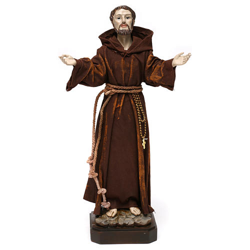 Statua in resina e stoffa San Francesco 30 cm  1