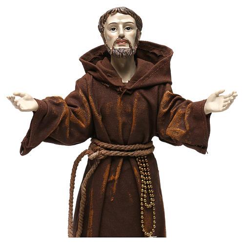 Statua in resina e stoffa San Francesco 30 cm  2