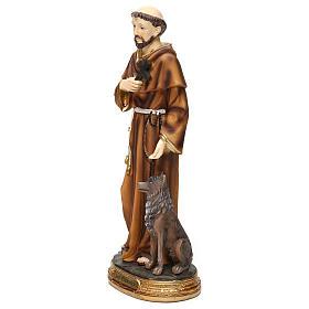 San Francesco con lupo 30 cm statua in resina s3
