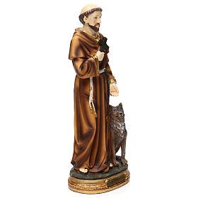 San Francesco con lupo 30 cm statua in resina s4