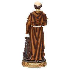 San Francesco con lupo 30 cm statua in resina s5