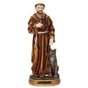 Resin & PVC statues: St Francis with wolf 30 cm resin statue