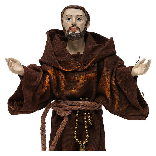 St. Francis statue in resin and fabric 20 cm 2