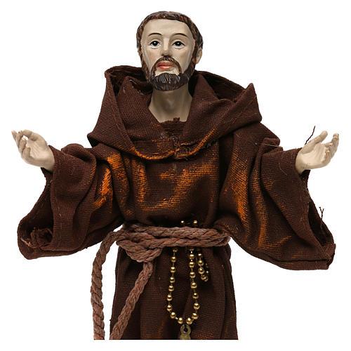 Saint François 20 cm résine et tissu 2
