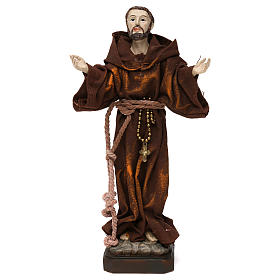 Resin & PVC statues: St Francis 20 cm resin and fabric statue