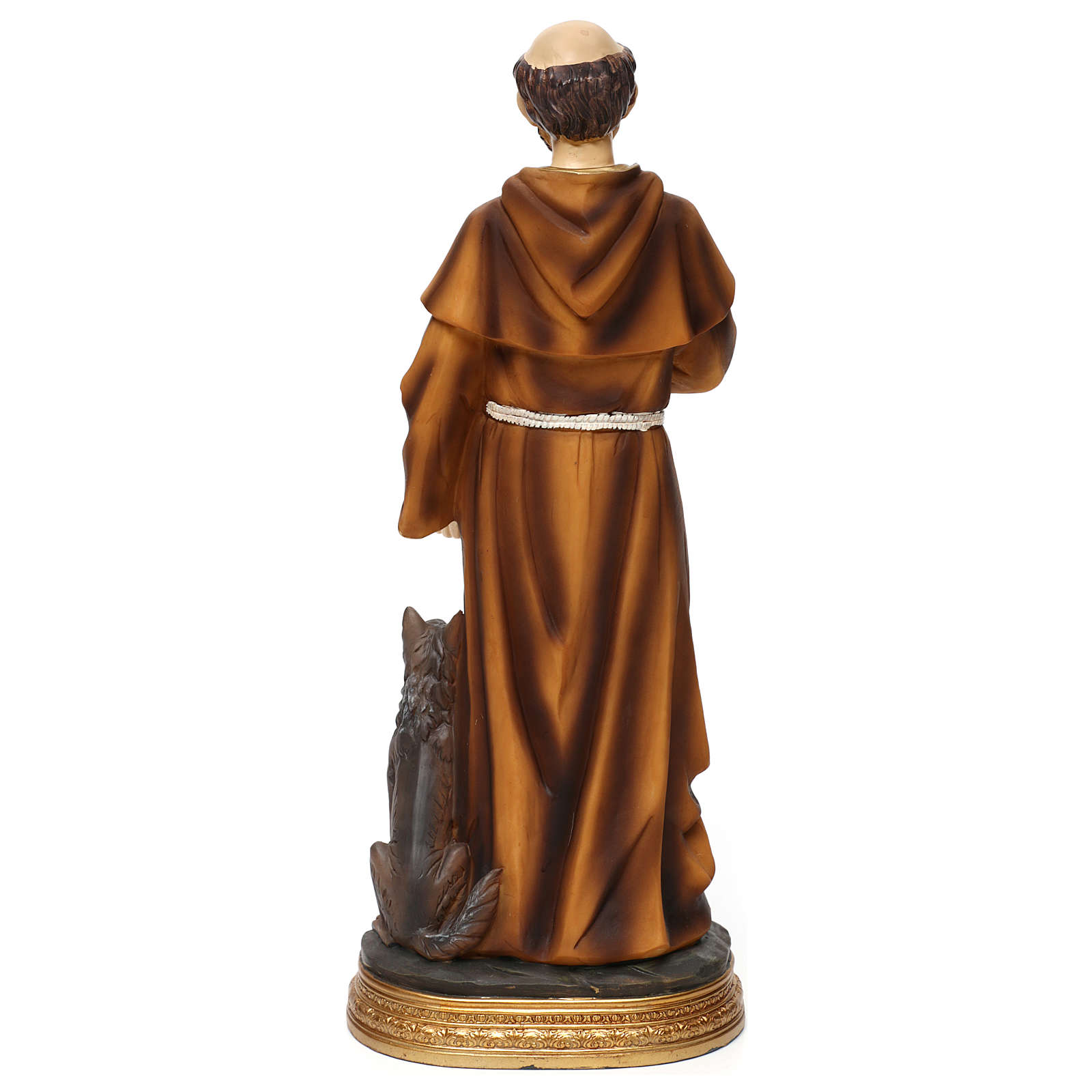 Statue in resin St. Francis with wolf 40 cm 4