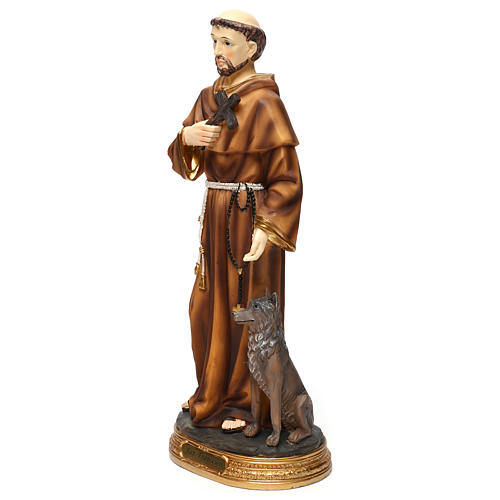 Statue in resin St. Francis with wolf 40 cm 3
