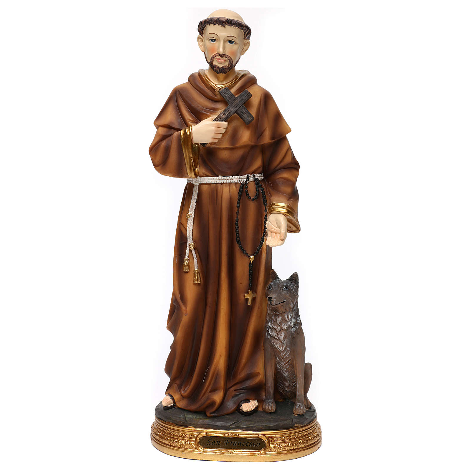 Statue en résine St François avec loup 40 cm 4