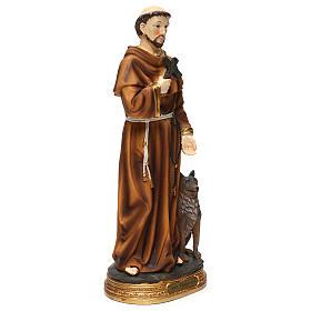 Statue en résine St François avec loup 40 cm s4