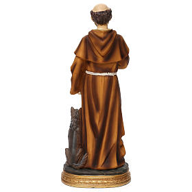 Statua in resina San Francesco con lupo 40 cm  s5