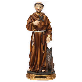 Resin & PVC statues: Saint Francis with wolf 40 cm resin statue
