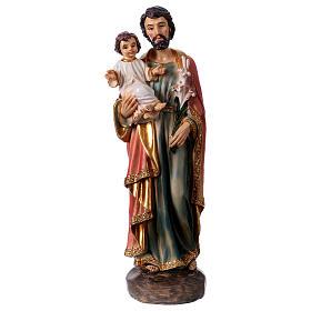 Imagens em Resina e PVC: Imagem em resina São José e o Menino 20 cm