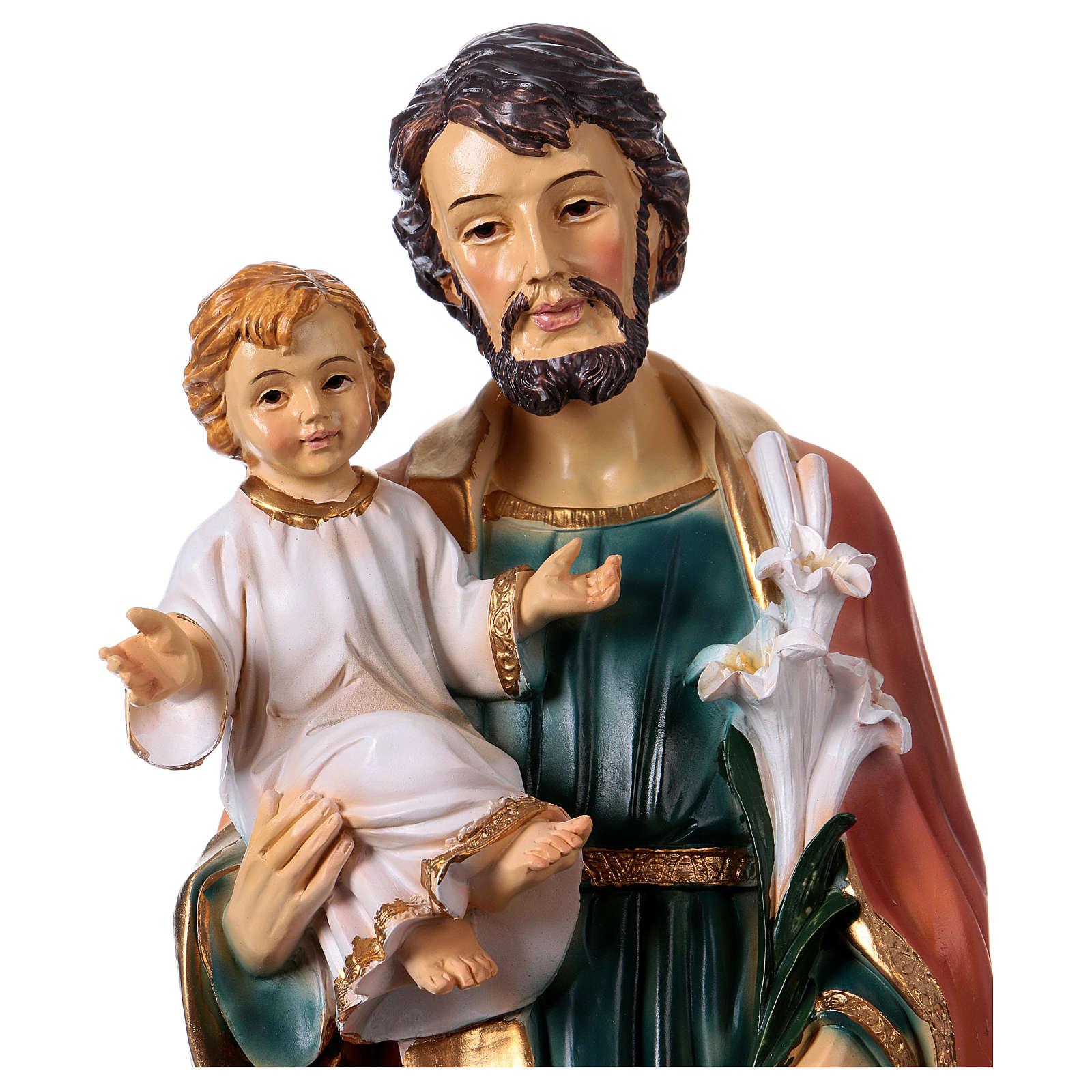 San Giuseppe e Bambino 30 cm statua resina 4