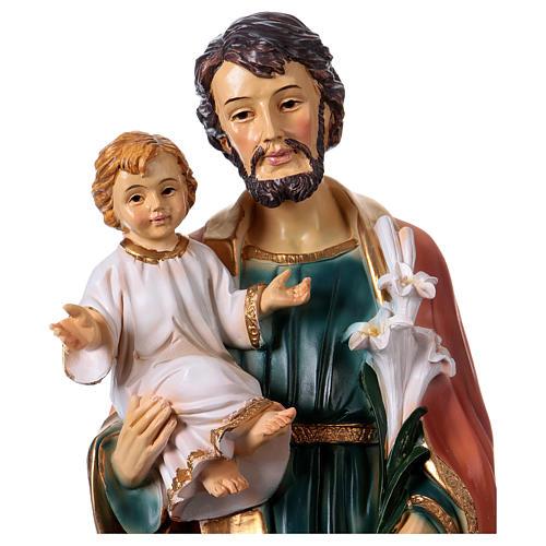 San Giuseppe e Bambino 30 cm statua resina 2