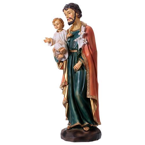 San Giuseppe e Bambino 30 cm statua resina 3