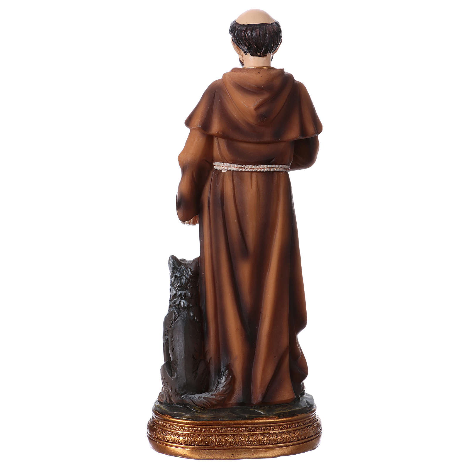 St. Francis with wolf statue in resin 20 cm 4