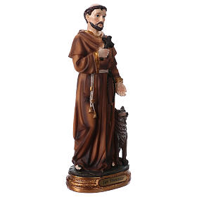 St. Francis with wolf statue in resin 20 cm s3