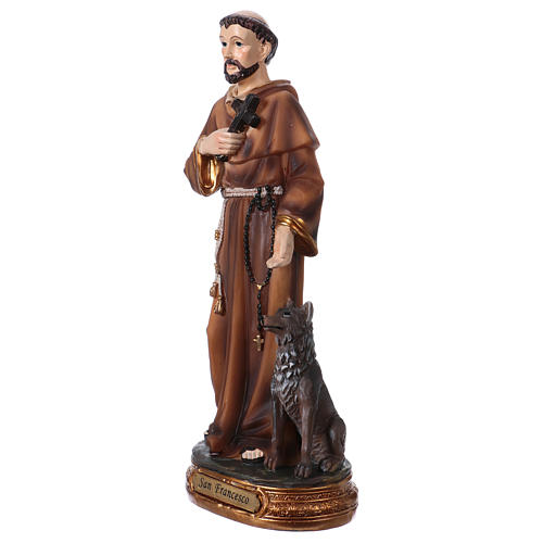 St. Francis with wolf statue in resin 20 cm 2