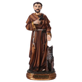 Statues en résine et PVC: Saint François avec loup 20 cm statue en résine
