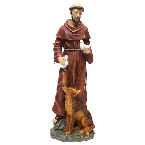 St. Francis with wolf statue in resin 50 cm 1
