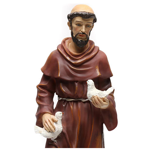St. Francis with wolf statue in resin 50 cm 2