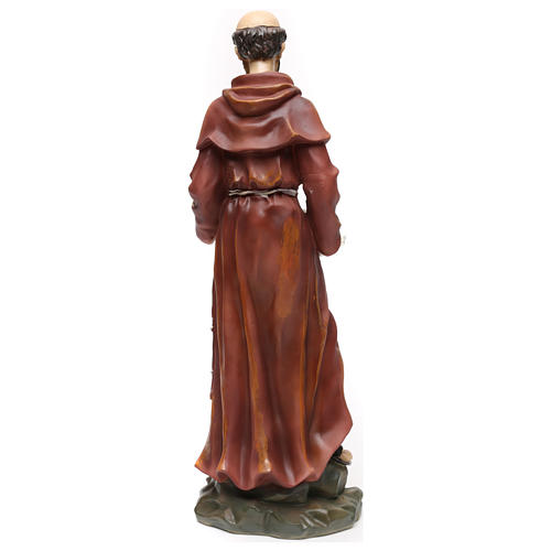 St. Francis with wolf statue in resin 50 cm 5