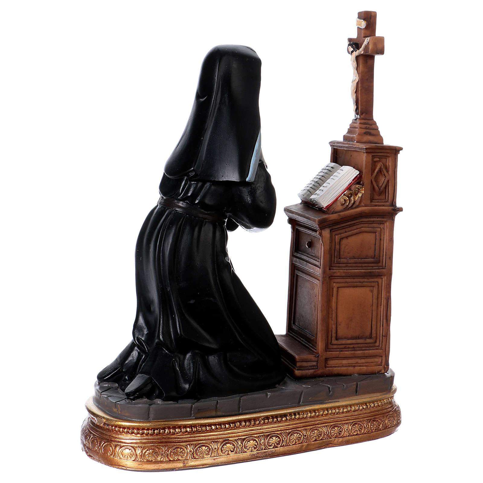 Kneeling Saint Rita 17 cm, in resin 4
