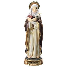 Statue de Sainte Catherine de Sienne résine 20 cm s1