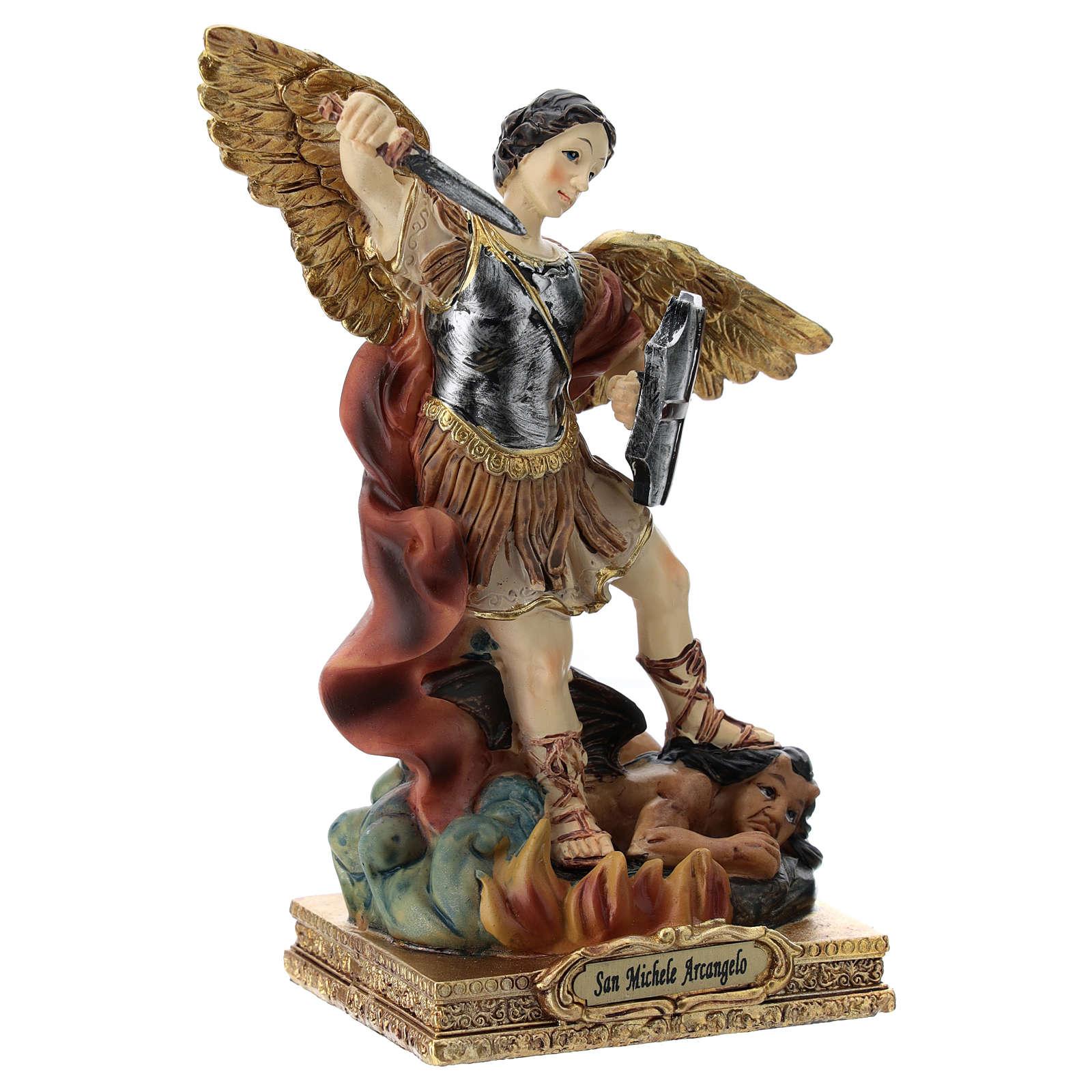San Michele statua 15 cm in resina 4