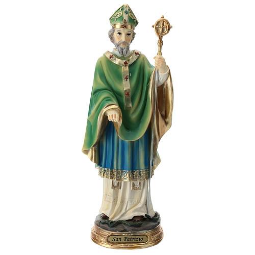 Statue St Patrick 30 cm résine colorée 1