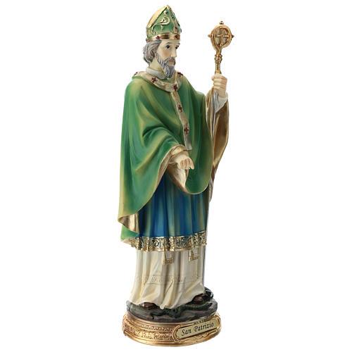 Statue St Patrick 30 cm résine colorée 9
