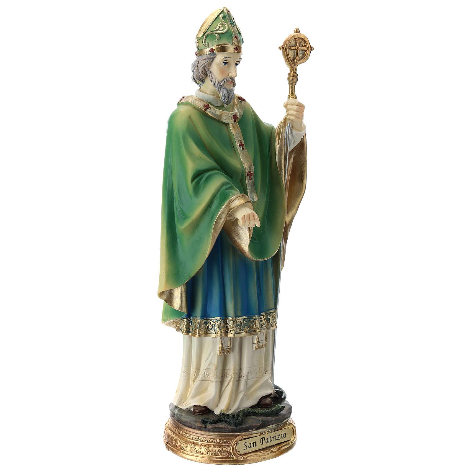 Statua San Patrizio 30 cm resina colorata  4