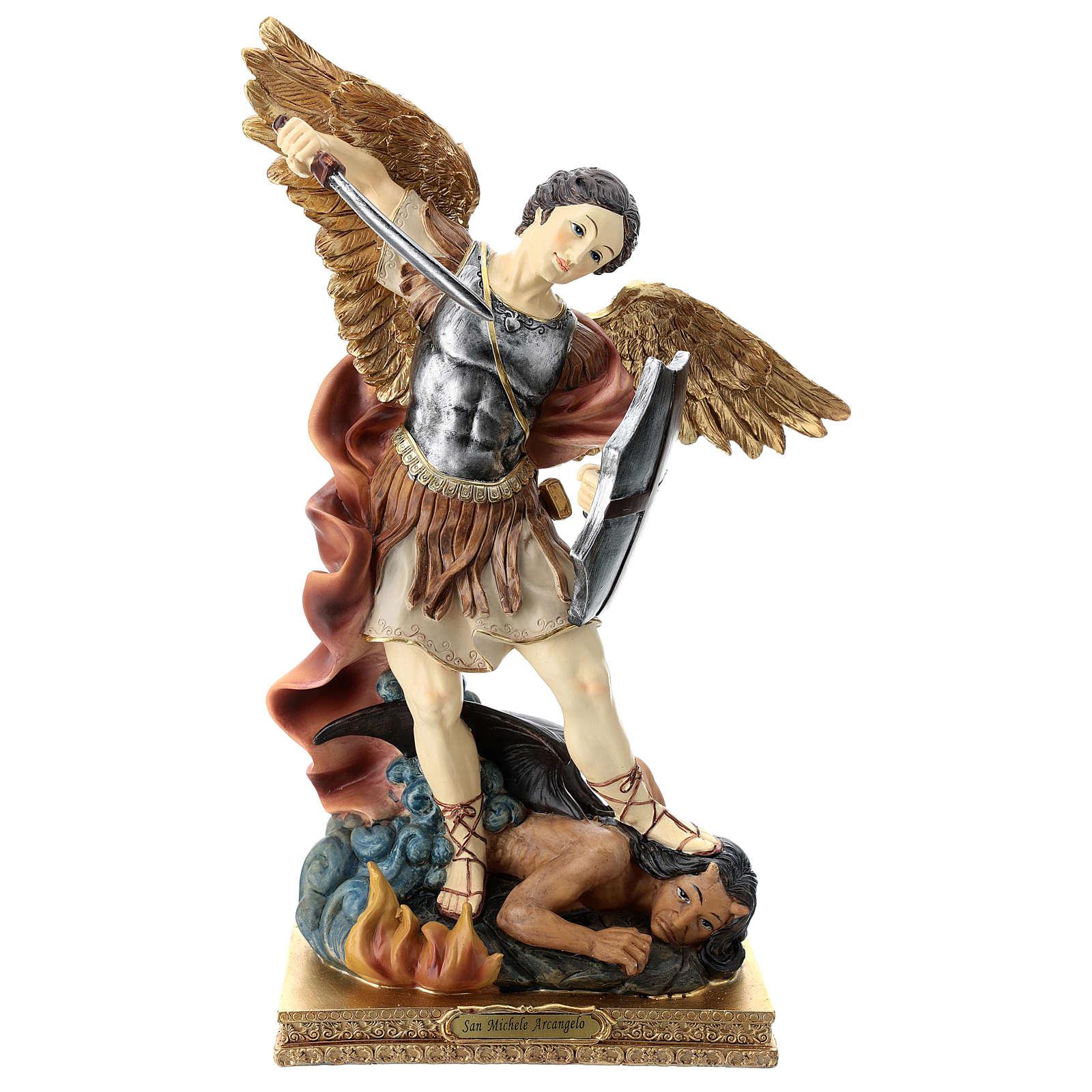 Saint Michel 40 cm résine colorée 4
