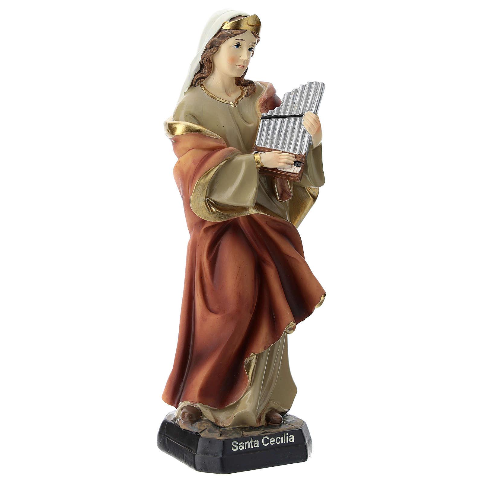 Statue of St. Cecilia in resin 20 cm 4