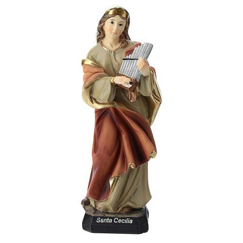 Statua Santa Cecilia in resina 20 cm 1