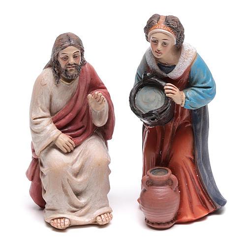 Escena pasión Cristo Jesús y la Samaritana cerca del pozo de Jacob 9 cm 2