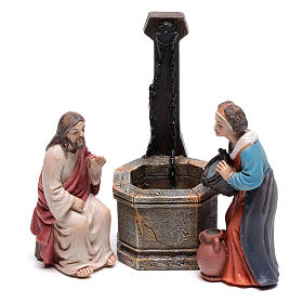 Statues en résine et PVC: Scène Passion Jésus-Christ et la Samaritaine au puits de Jacob 9 cm