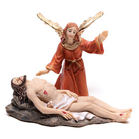 Scène de la vie de Jésus descente de croix avec ange 9 cm s1