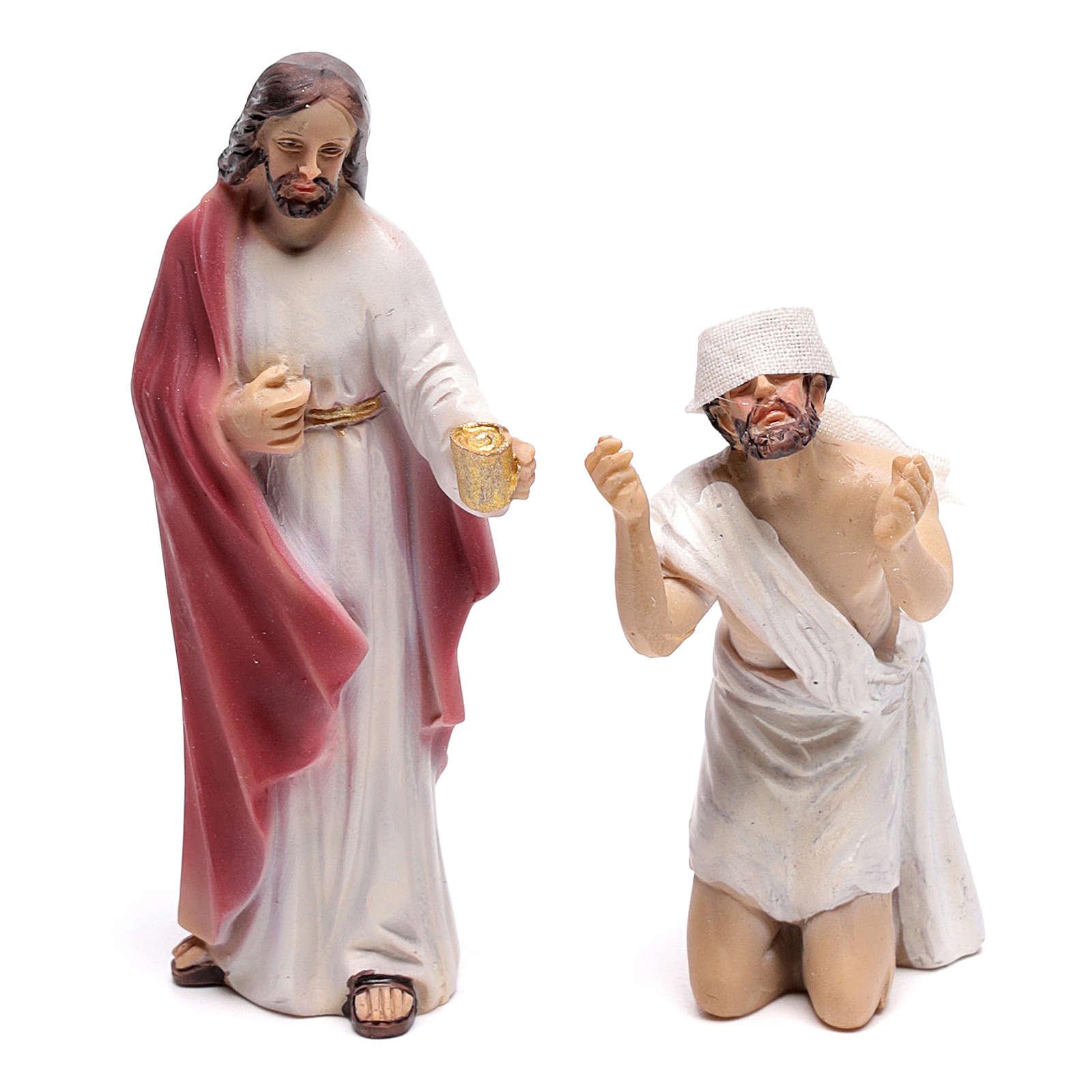 Statuine scena della vita di Gesù: guarigione dei non vedenti 9 cm 4